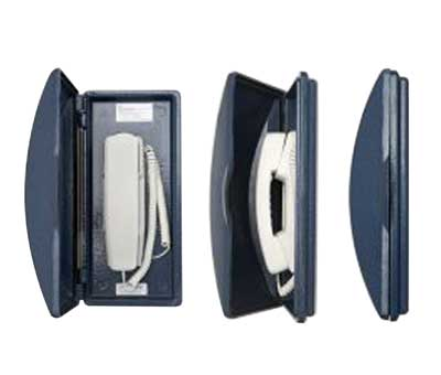 Photo of Dritel Utility phone showing the slim and space saving attributes for weatherproof cost saving usage